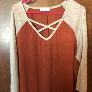 3/4 Sleeve Burnt Orange Shirt